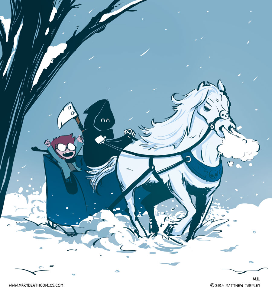 Dashing through the snow, in a Pale horse open sleigh, O'er the fields we go, slaying all the way.